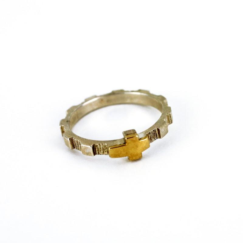 Bague dizainier en argent et en or