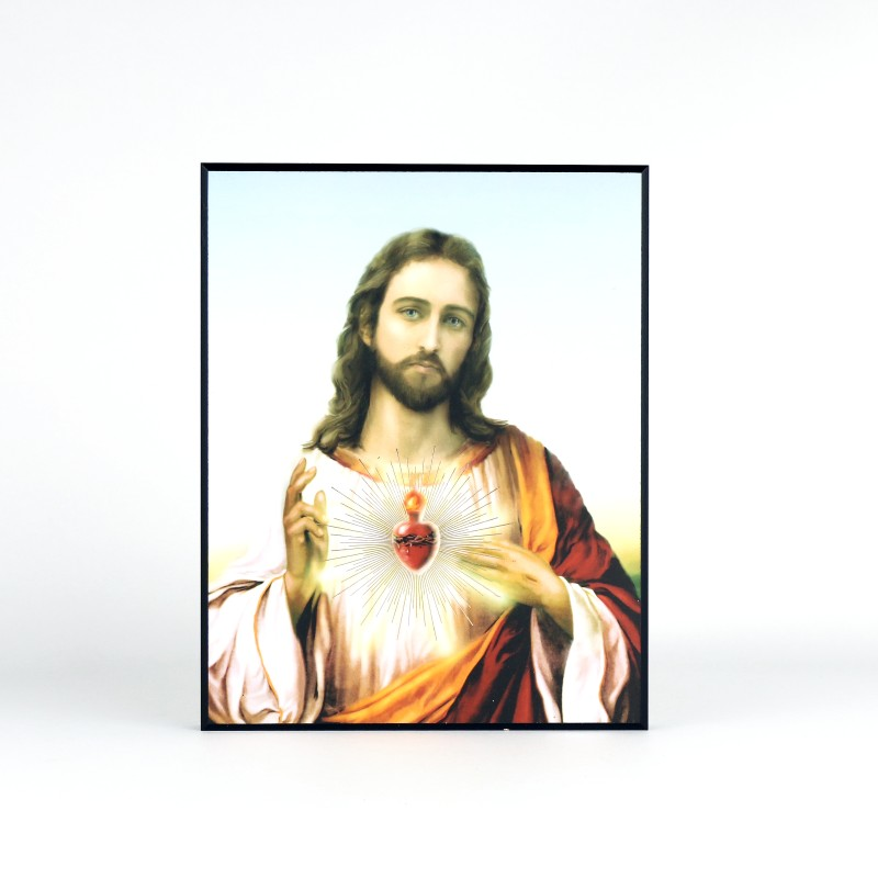 Laminated plaque of Sacred Heart of Jesus