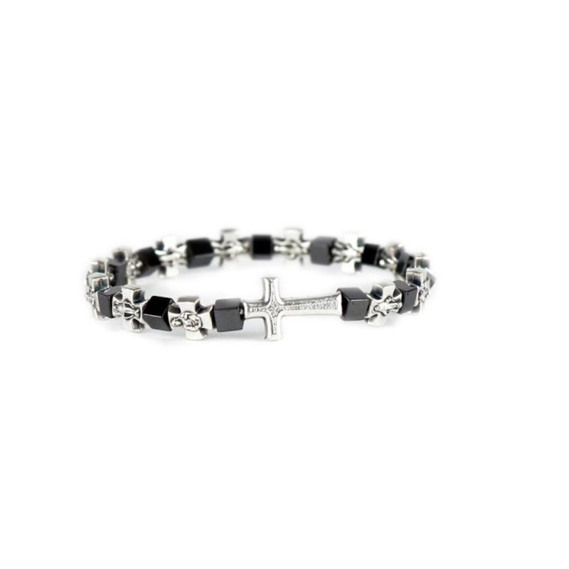 Metal and hematite bracelet