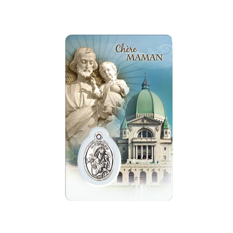 """Carte et médaille """"Famille"""" de l'Oratoire et saint Joseph (français)"""