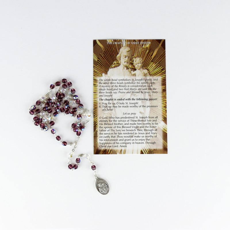 Prayer Card and Rosary of Saint Joseph