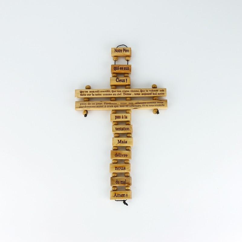 Croix Notre Père en bois d'olivier, 34 cm