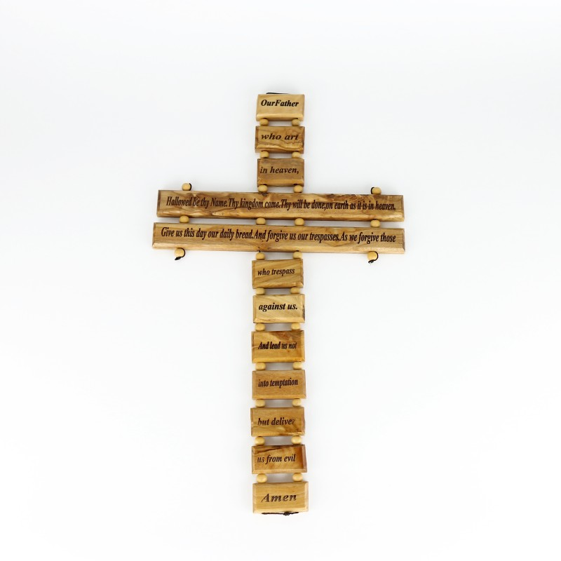 "Olive wood cross ""Our Father"", 22 cm"