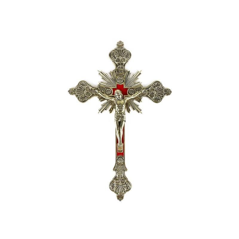 Golden or silver brass crucifix