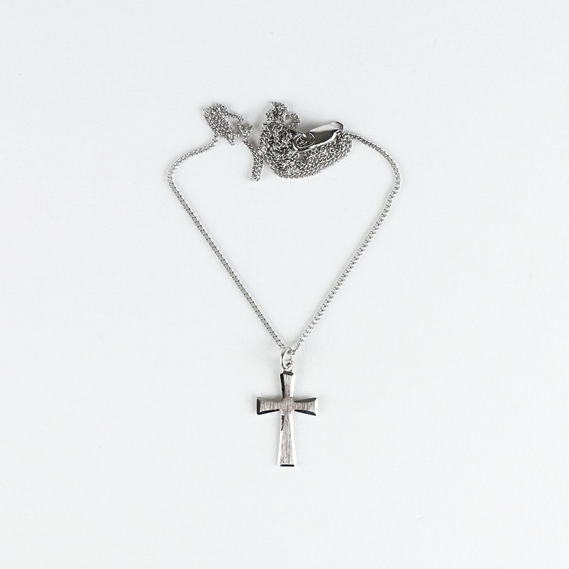 Brushed silver chain and cross