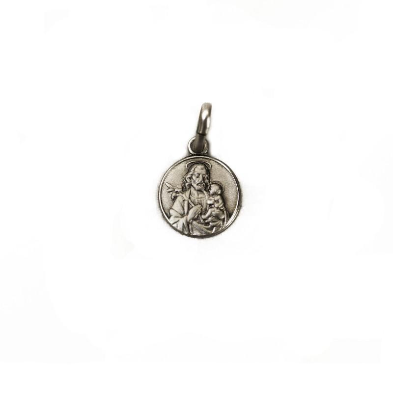 Médaille de saint Joseph et l'enfant Jésus en argent