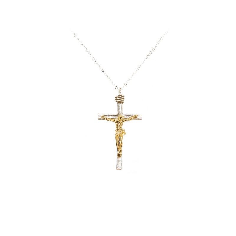 Pendentif : Crucifix argenté lustré et corpus doré