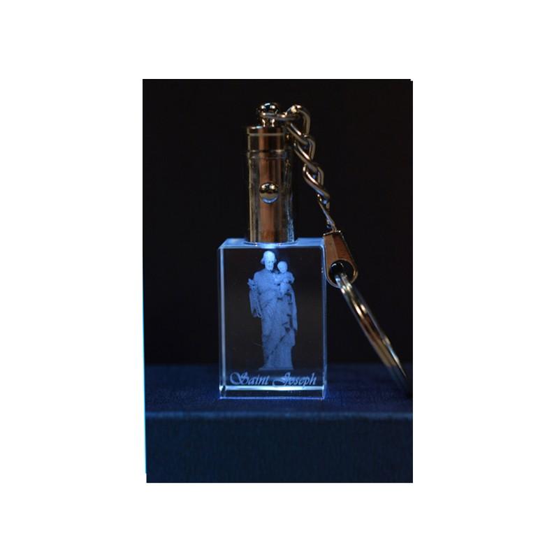 3D Engraved Crystal Keychain - Saint Joseph