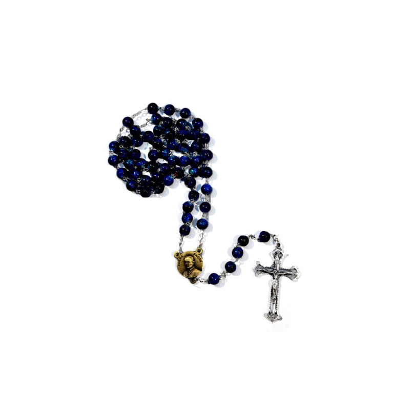 Saint Brother André rosary-blue