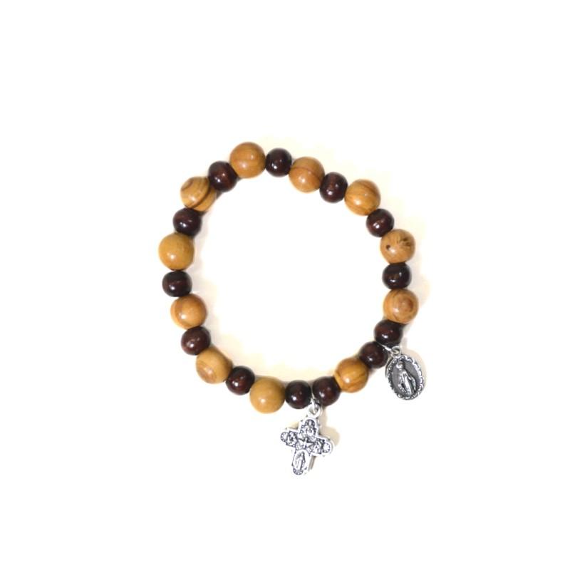 Two-tone olive wood bracelet