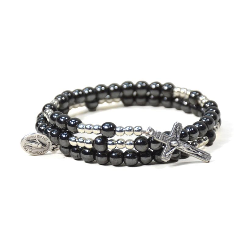Bracelet chapelet sur fil mémoire