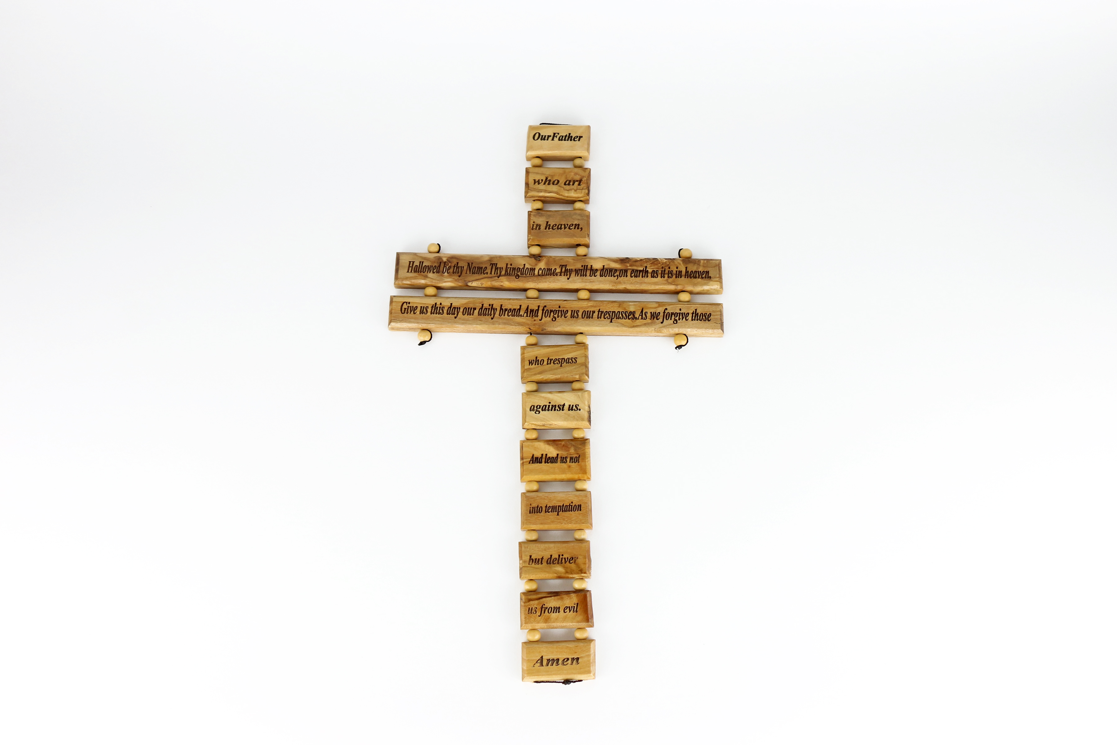 """Croix Notre Père bois d'olivier - Olive Wood Cross """"Our Father"""""""