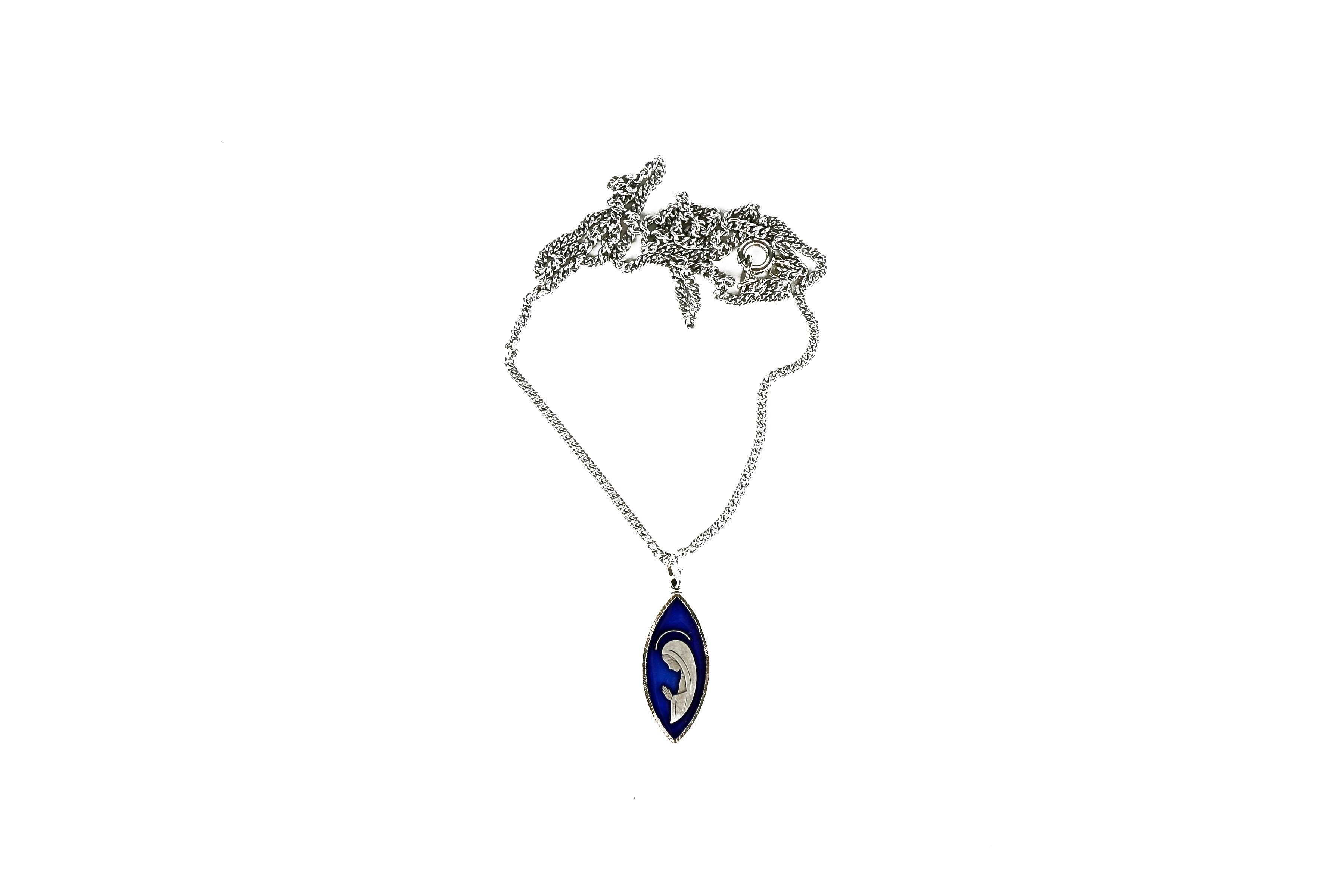 Chaîne et médaille de la Vierge, émaillée bleue / Chain with enameled blue medal of the Virgin