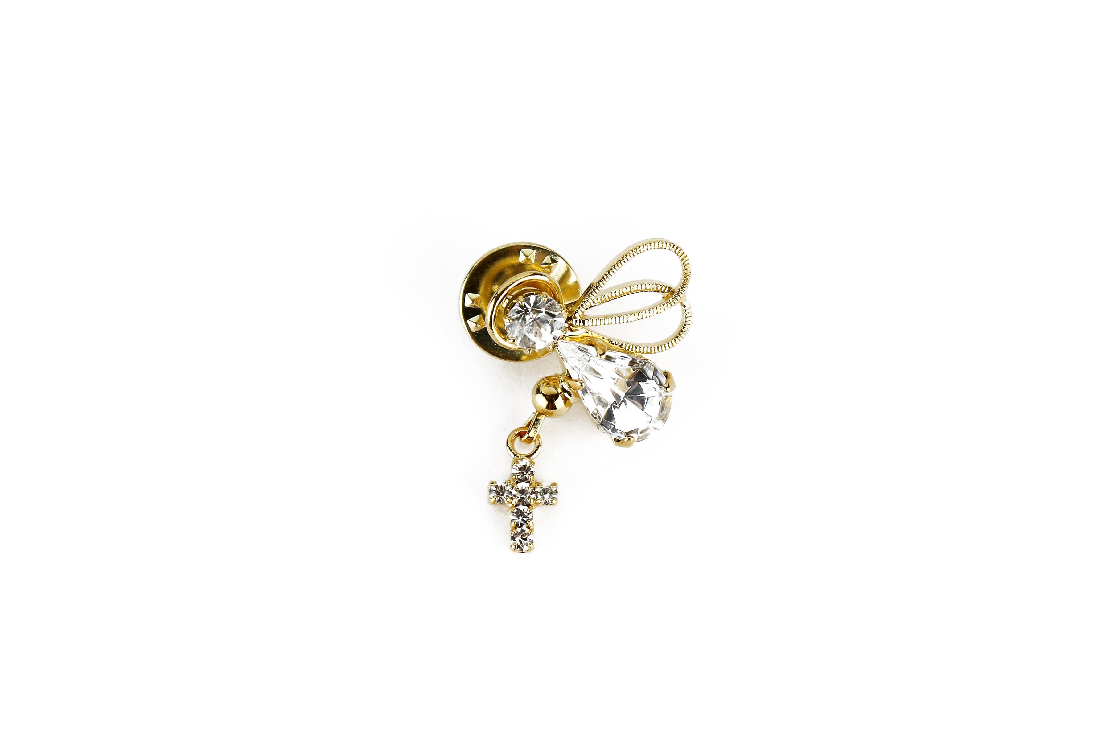 """Épinglette """"Ange et croix de cristal""""/ Angel and cross pin"""