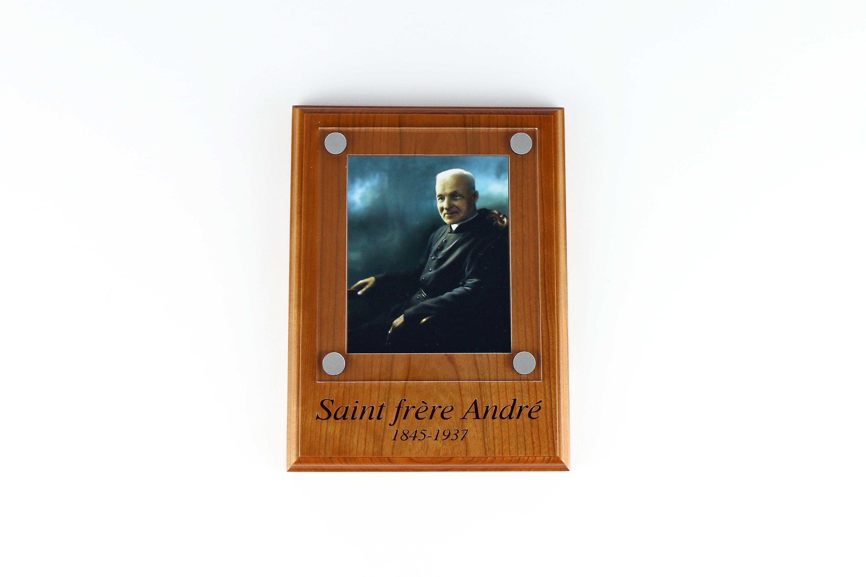 Plaque de saint frère André / Wooden plaque of Saint Brother André
