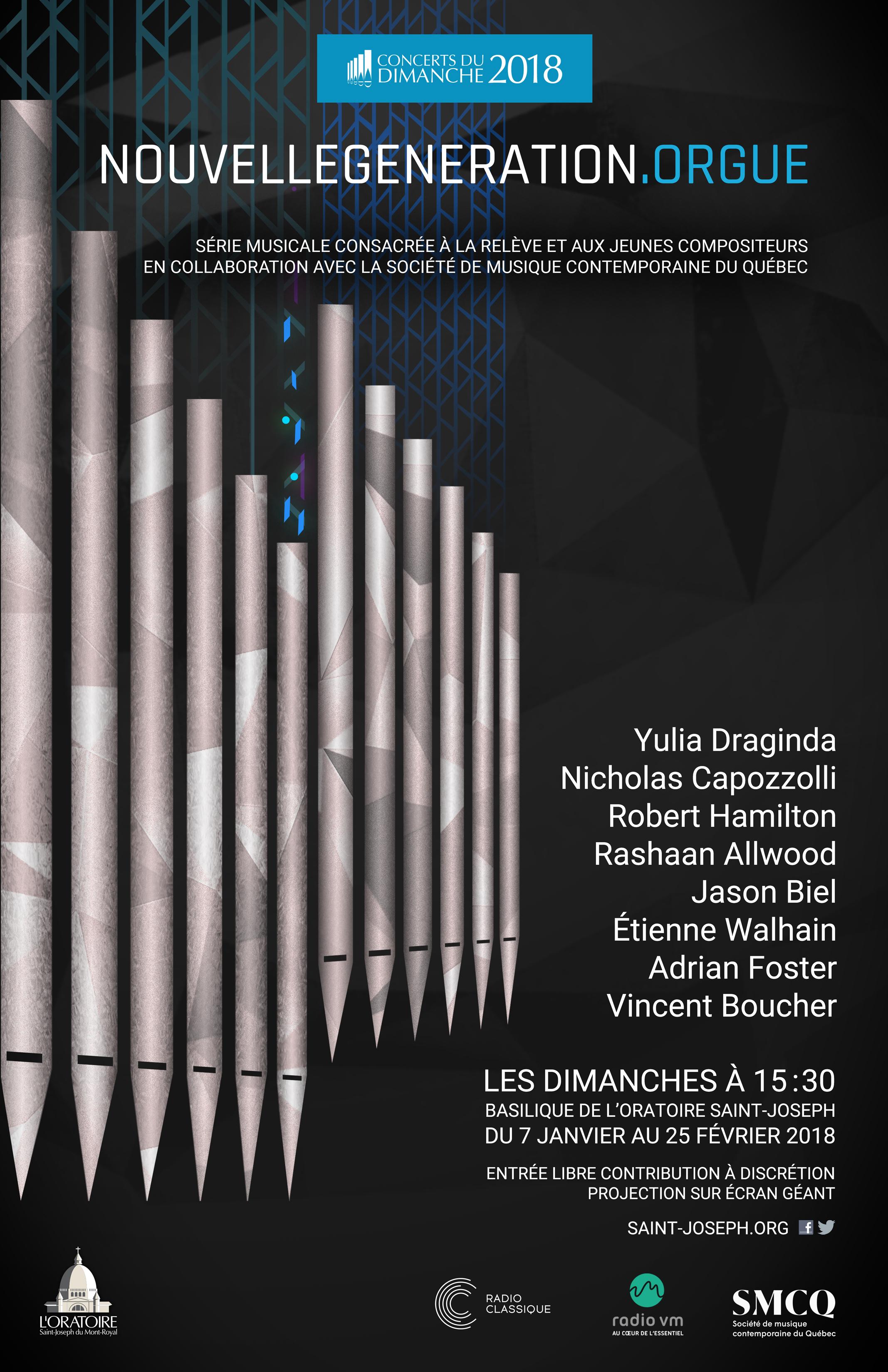 Affiche de série de concerts du dimanche NouvelleGeneration.orgue 2018