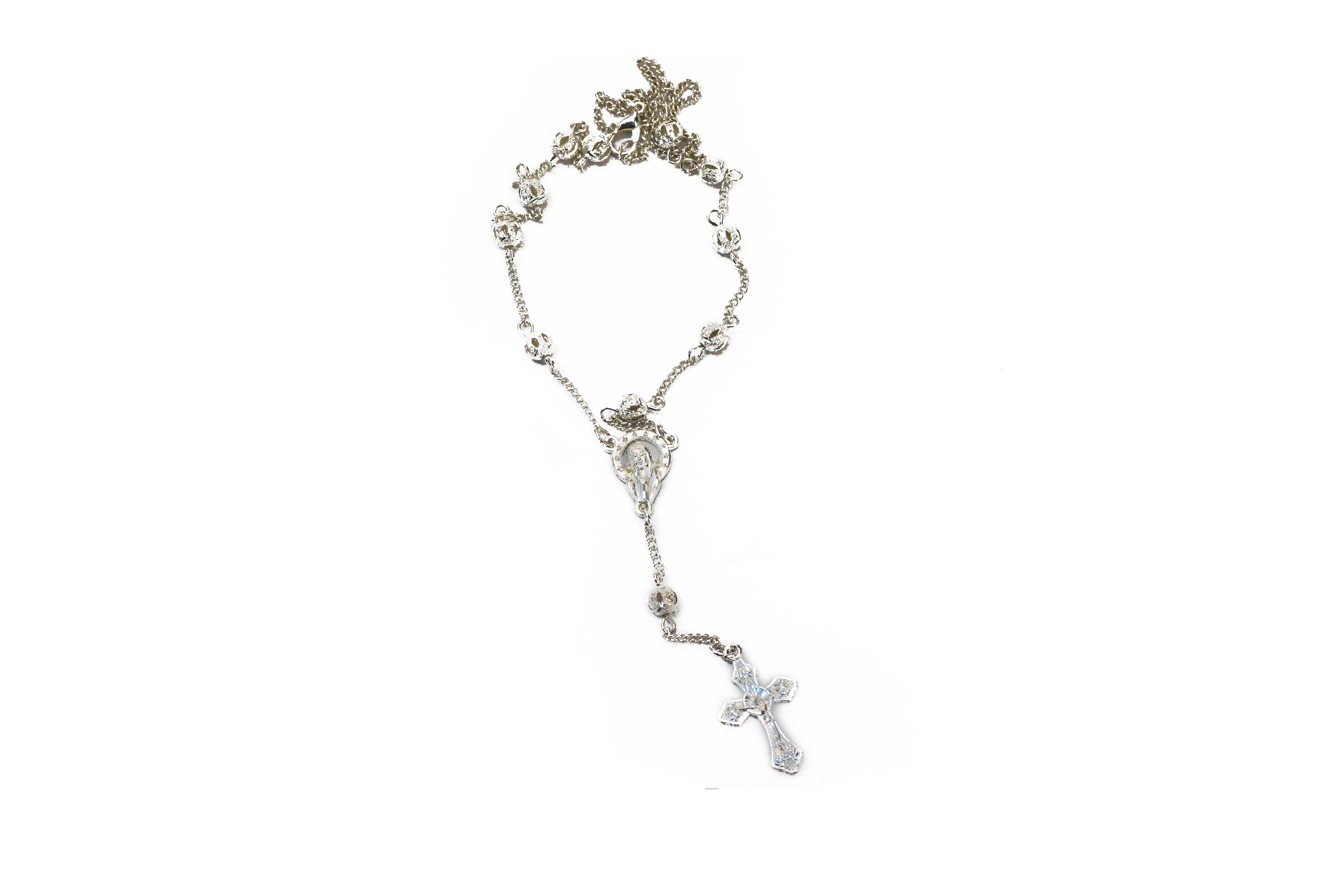 Rosary necklace silvered loratoire saint joseph du mont royal collier dizainier argent silvered rosary necklace aloadofball Gallery