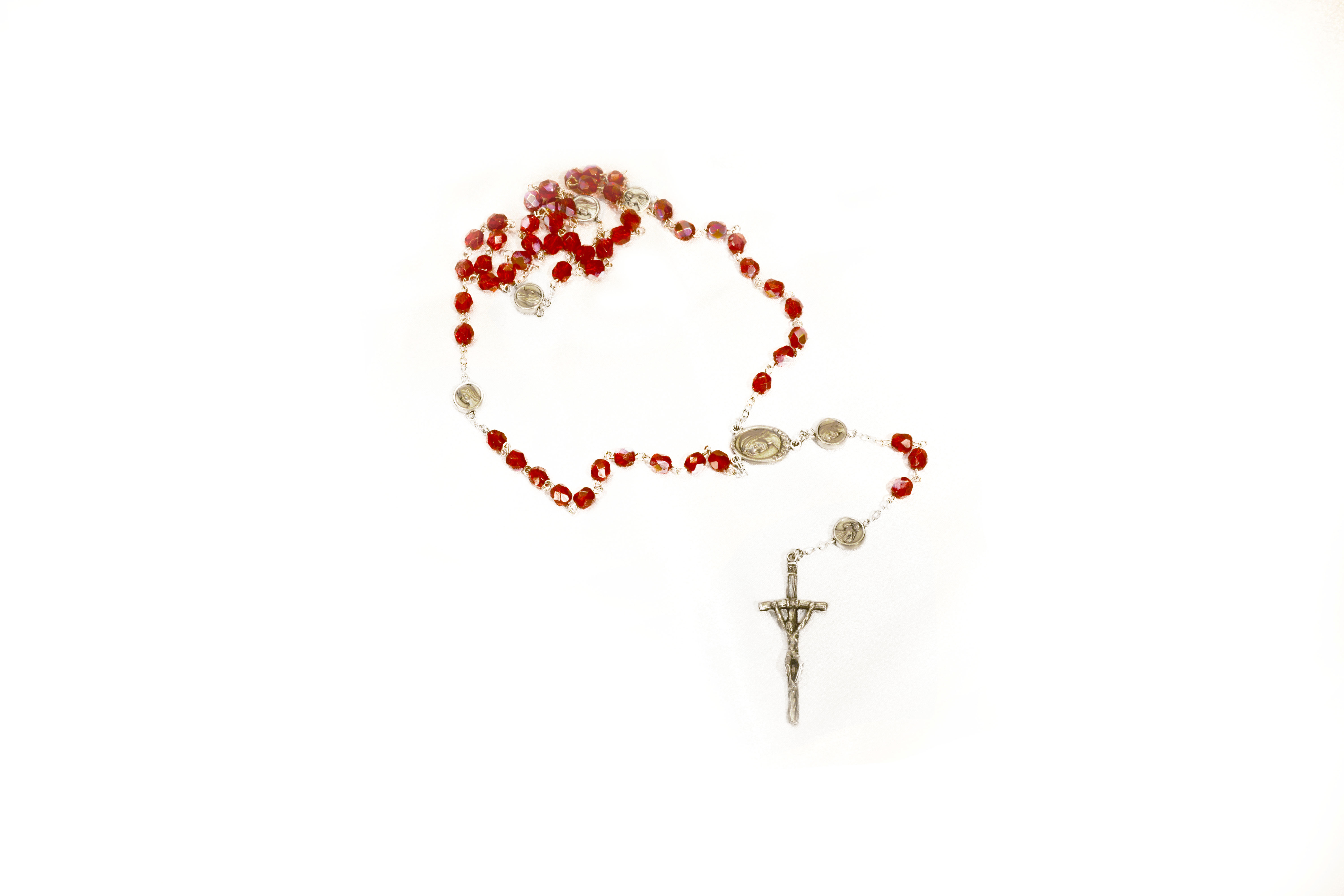 Chapelet rouge irisé / Iridescent Red Rosary