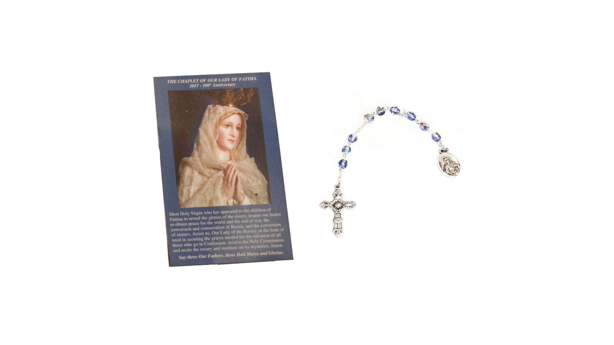 Carte prière et dizainier Notre-Dame de Fatima / Prayer Card and Rosary Our Lady of Fatima