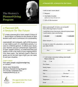 Planned giving program at Saint Joseph's Oratory