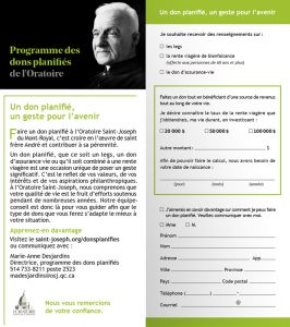 Programme des dons planifiés à l'Oratoire Saint-Joseph