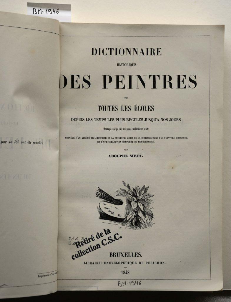 Page de titre du Dictionnaire des peintres de toutes les écoles depuis les temps reculés jusqu'à nos jours d'Adolphe Siret (1848)