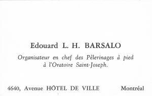 Fig. 1 - Carte professionnelle d'Édouard Barsalo.