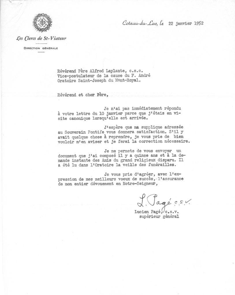 Lettre du père Lucien Pagé, c.s.v.