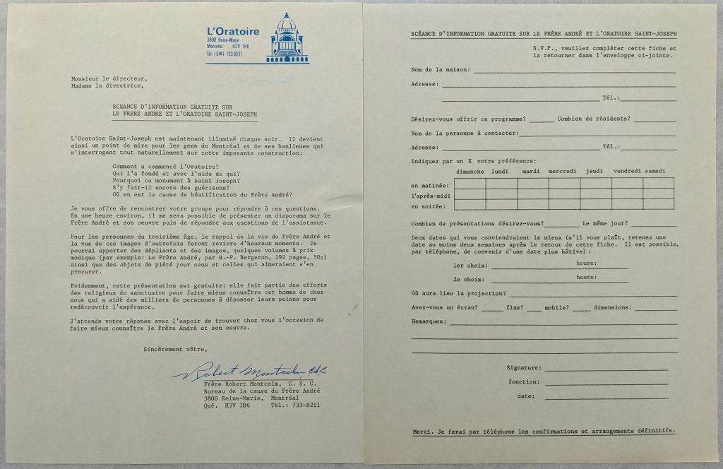 Lettre circulaire envoyée par le frère Montcalm à divers organismes et feuille de réservation. CARDG.