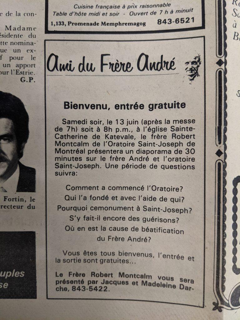 Publicité dans le journal Le Progrès de Magog, le 10 juin 1981.